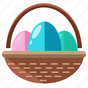 easter, hunt, coloured, collect, basket, egg