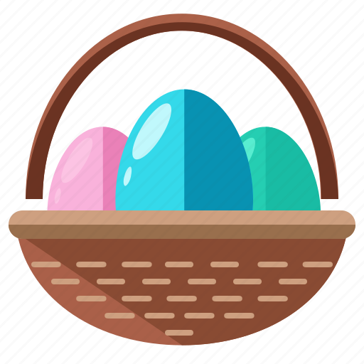 basket, collect, coloured, easter, egg, hunt icon