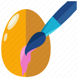brush, colour, easter, egg, paint, painting icon