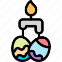 candle, easter, egg, light icon