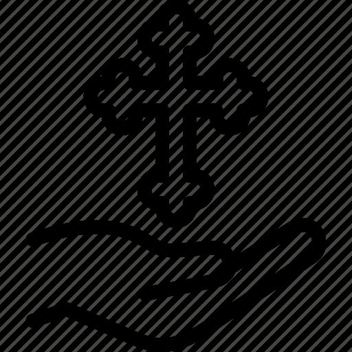 cross, easter, egg, hand icon