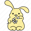 bunny, chamomile, daisy, easter, flower, love, rabbit icon
