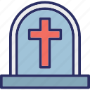 cemetery, christianity, cross, grave icon