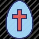 cross on egg, cross sign, easter, easter egg icon