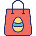 easter bag, easter shopping, egg on bag, shopping bag icon