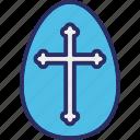 cross on egg, easter, easter egg, egg icon