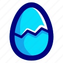 blue, broken, egg icon