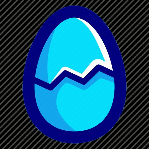 blue, broken, egg icon