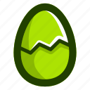 broken, easter, easteregg, egg, food, green, shell icon
