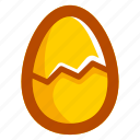 broken, easter, easteregg, egg, food, shell, yellow icon