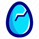 blue, broken, easter, easteregg, egg, food, shell icon