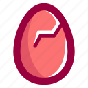 broken, easter, easteregg, egg, food, pink, shell icon