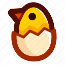 chick, chicken, easter, easteregg, eggshell, food, shell icon