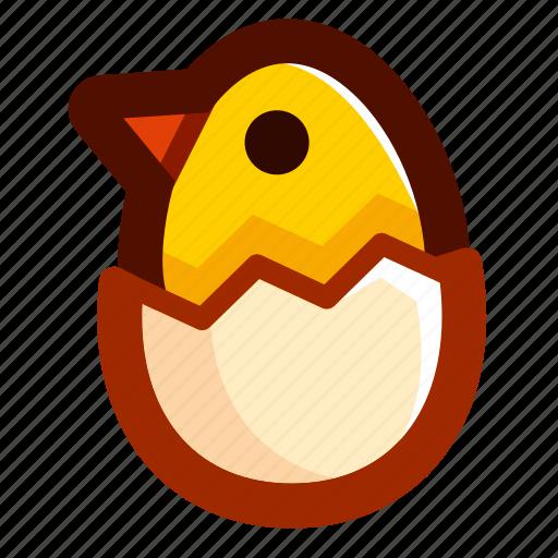 chick, chicken, easter, easteregg, eggshell, food, shell icon