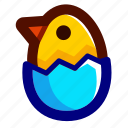 blue, chick, chicken, easter, easteregg, eggshell, shell icon