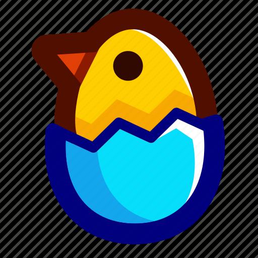 blue, chick, chicken, easter, easteregg, eggshell, shell icon