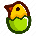 chick, easter, easteregg, eggshell, food, green, shell icon