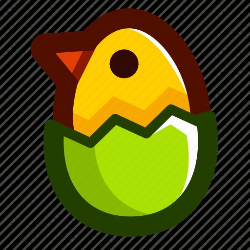 chick, easter, easteregg, eggshell, food, green, shell icon