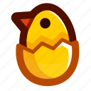 chick, easter, easteregg, eggshell, food, shell, yellow icon