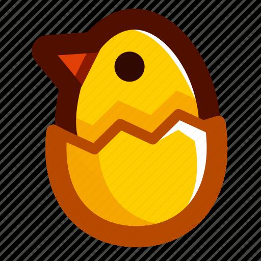 chick, easter, easteregg, eggshell, food, shell, yellow icon