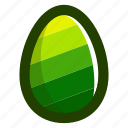 easter, easteregg, egg, food, green, pattern, stripes icon