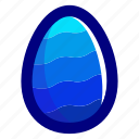 blue, easter, easteregg, egg, food, pattern, waves icon
