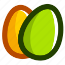 easter, eggs, green, yellow icon