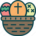 basket, easter, eggs, painting icon