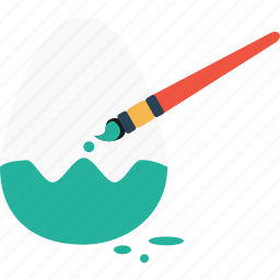 brush, colored, day, easter, egg, paint, painting icon