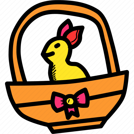 basket, bow, bunny, easter, gift, rabbit, ribbon icon