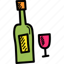 alcohol, bottle, celebrate, celebration, drink, glass, wine icon