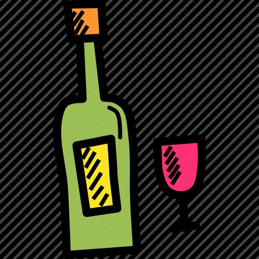 alcohol, bottle, celebrate, celebration, drink, glass, wine icon