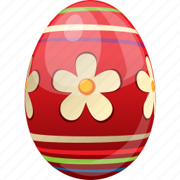 decorated, decoration, easter, egg, food, red icon