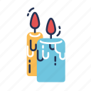 candle, candles, celebration, decor, easter, fire, light icon