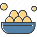 basket, easter, eggs, food, painted icon