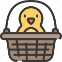basket, chick, chicken, christianity, easter, holidays, in icon