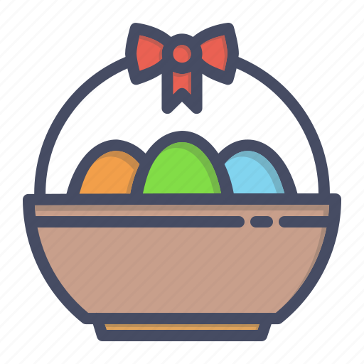 basket, bowl, decoration, easter, egg, eggs, ribbon icon