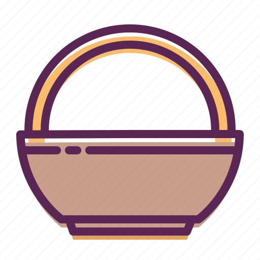 basket, bowl, carry, decoration, easter icon