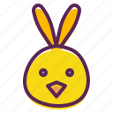 bunny, chicken, chickling, cute, ears, easter, rabbit
