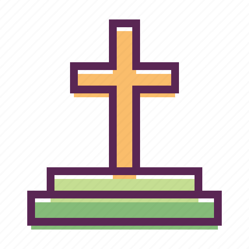 cemetery, cross, easter, grave, sepulchre, stone, tomb icon