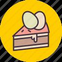 cake, dessert, easter, egg, paschal, slice, hygge icon