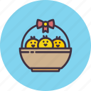 basket, bow, chicken, chickling, easter, gift, ribbon icon