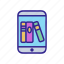 device, ebook, electronic, library, outline, phone, tool
