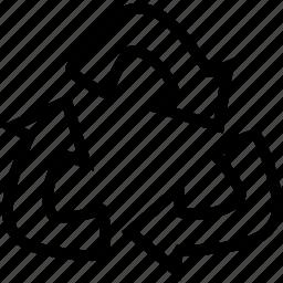 arrows, motion, triangle icon