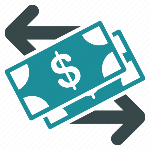 bank activity, banking business, cash payment, currency exchange, dollar banknotes, financial transactions, money transfer icon
