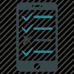 check, checklist, list, mark, mobile, phone icon