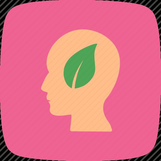 eco, head, leaf, mind icon
