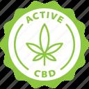green, label, active cbd, cbd, medical, cannabis, marijuana icon