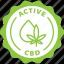 green, label, active cbd, cbd, active, medical, marijuana icon