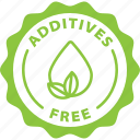 green, label, additives free icon
